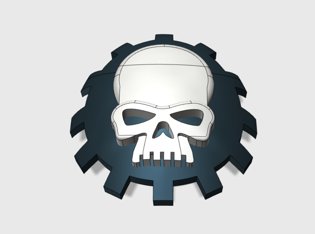 60x-Gear Skull : Shoulder Insignia pack in Smooth Fine Detail Plastic