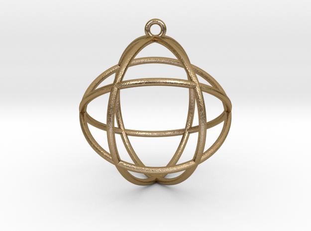 Genesa Crystal V2 1.5in Pendant in Polished Gold Steel