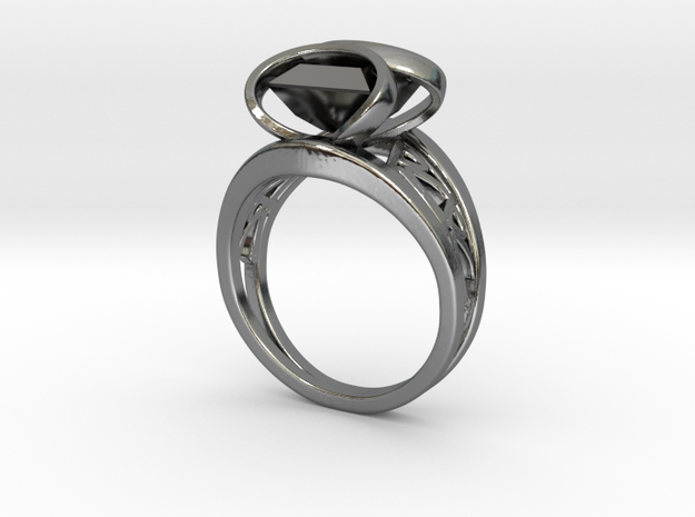 Harrington Font Twin Ring + Square Gem in Fine Detail Polished Silver