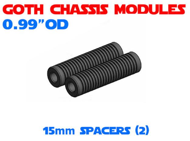 GCM099 - 15mm Spacers x2 in White Natural Versatile Plastic