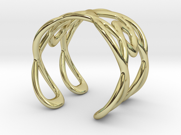 Cuff Bracelet Weave Line B-013 in 18k Gold Plated Brass