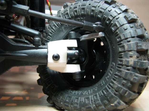 Axial SCX C-hub right side V2 3d printed c-hub mounted with high-clearance knuckle and xr10-universals