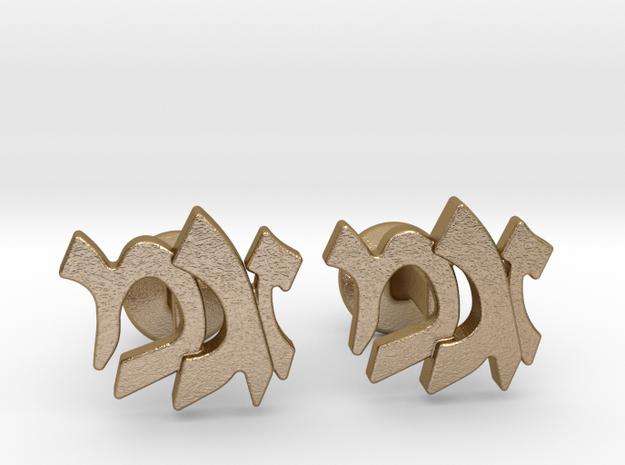 "Hebrew Monogram Cufflinks - ""Zayin Mem Gimmel"" in Polished Gold Steel"
