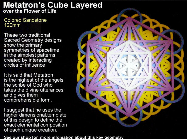 Sacred Geometry: 125mm Metatrons Cube & Flower of  in Full Color Sandstone
