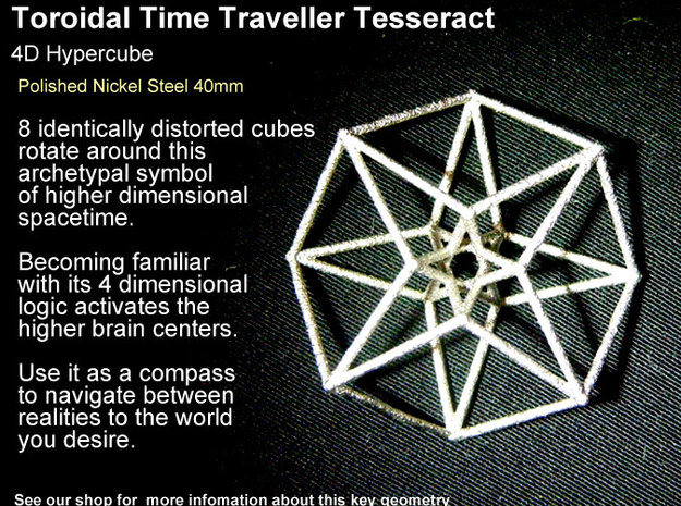 Sacred Geometry: Toroidal Hypercube 40mmx1mm 3d printed Masculine in Nickel Steel (not recommended to wear against skin as some have Nickel allergies