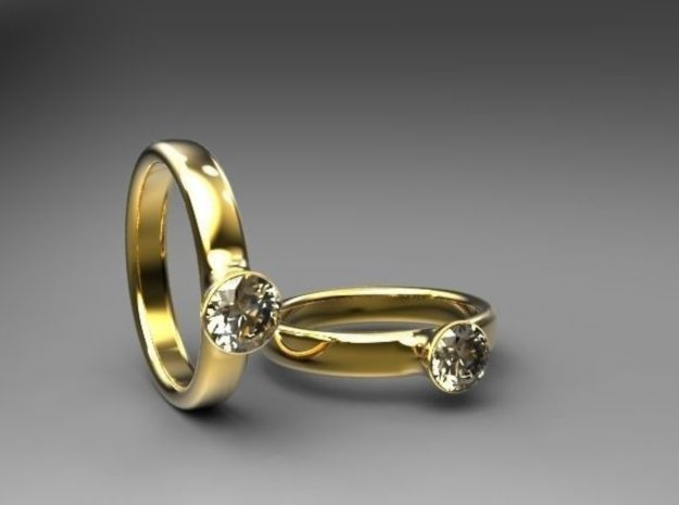 Diamond Solitaire Engagement Ring - Gold & Silver in 14K Gold