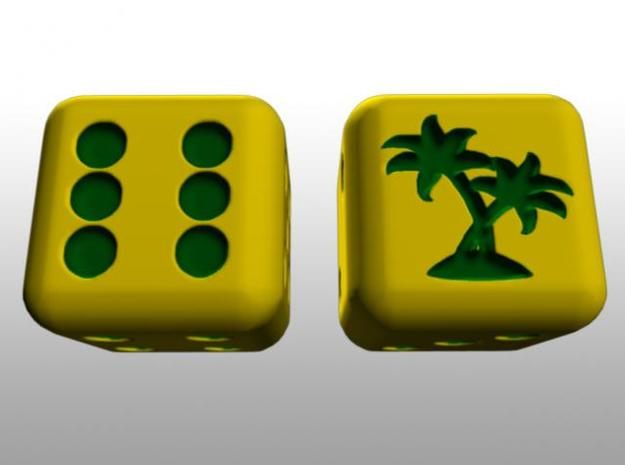Tropical Pair O' Dice in Full Color Sandstone