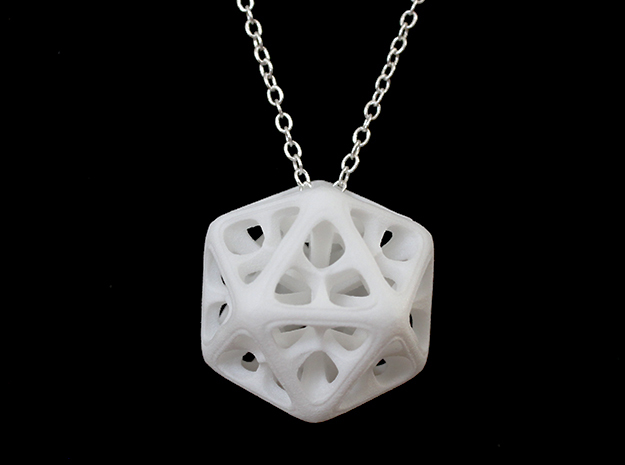 Icosahedron Pendant in White Strong & Flexible Polished