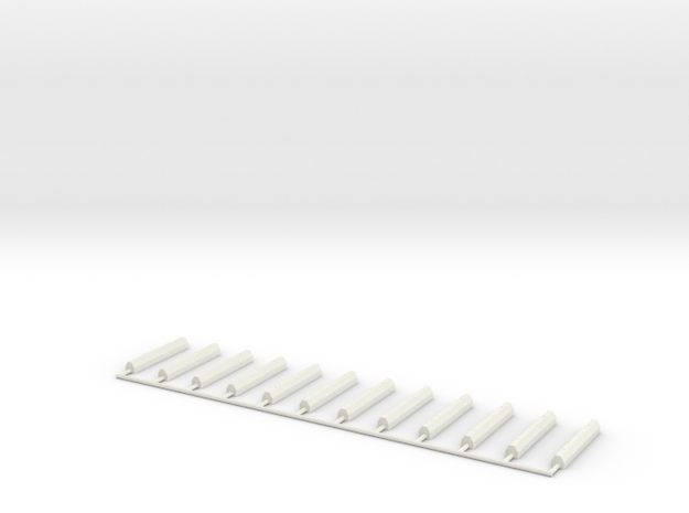 Parking Space Stop Blocks (12) (HO) in White Natural Versatile Plastic: 1:87 - HO
