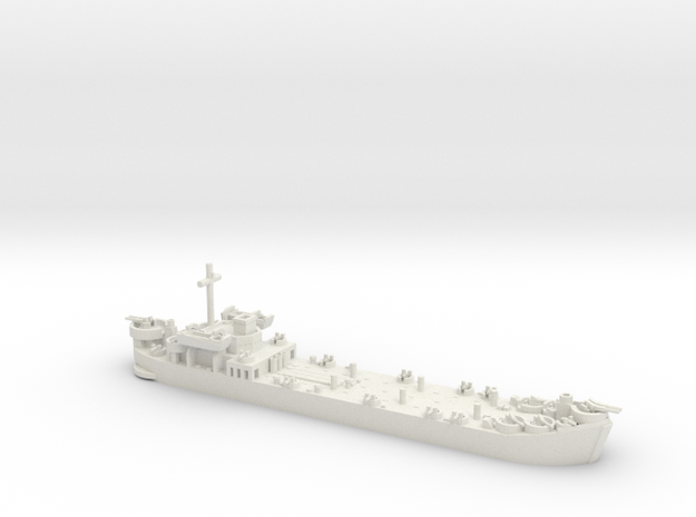 1/600 LST MkII Early 2x LCVP in White Natural Versatile Plastic