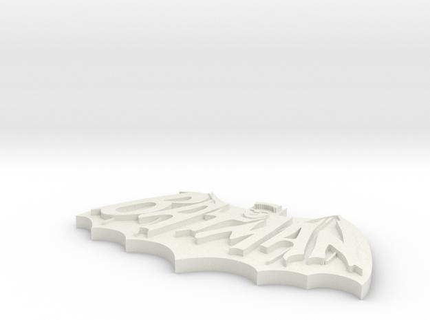 Retro Batman Logo in White Natural Versatile Plastic