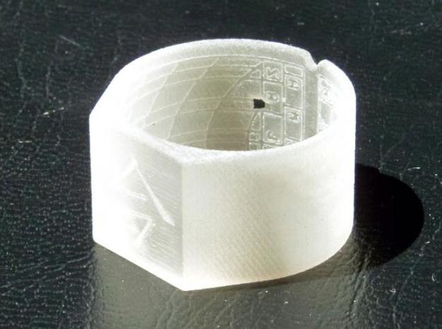Ima Ring 3d printed Detail of the engraving under  sunlight.
