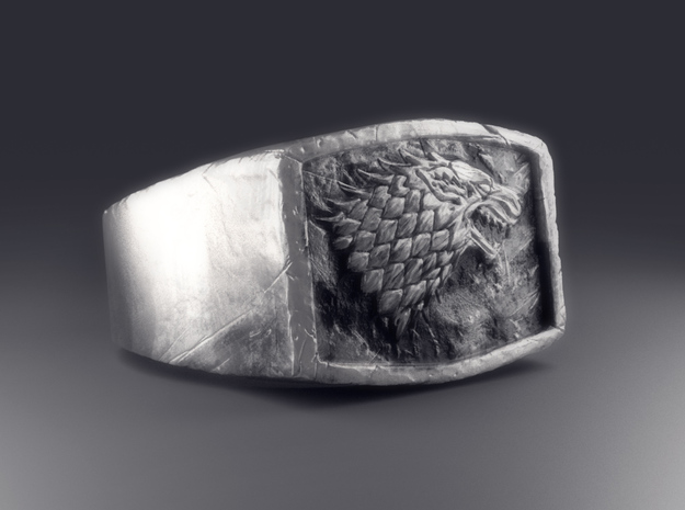 Game Of Thrones Stark Ring in Polished Bronzed Silver Steel: Medium