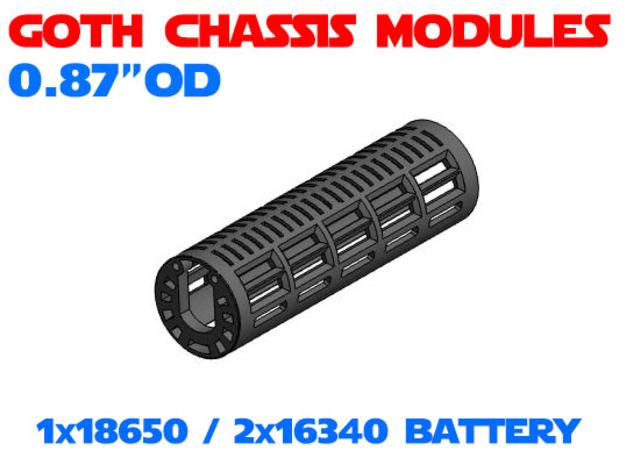 GCM087 - 18650 Battery chassis in White Natural Versatile Plastic