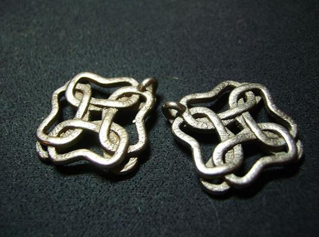 Friendship knot earrings 3d printed Back low