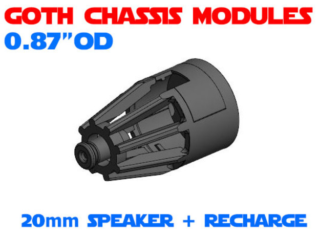 GCM087 - 20mm Speaker + recharge port in White Natural Versatile Plastic