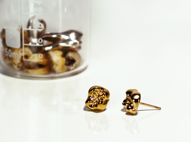 Tooth Cap Stud Earrings in Polished Brass