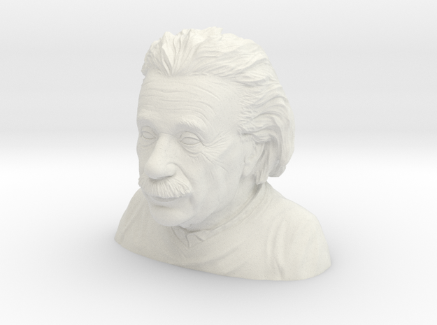 1/6 Einstein Bust (Solid) in White Natural Versatile Plastic