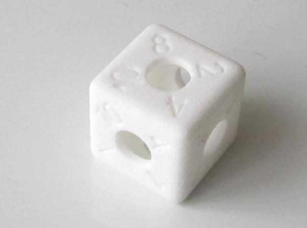 Average D6 Hollow Dice 3d printed In White Strong and Flexible