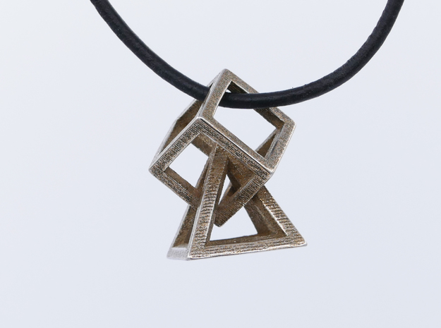 Cube and pyramid in Polished Bronzed Silver Steel