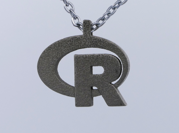Pendant R Statistics Logo (thickness 4.5 mm) in Polished Bronzed Silver Steel