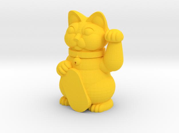 Maneki Neko in Yellow Processed Versatile Plastic