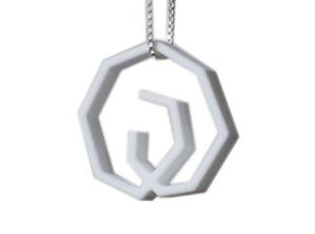 Rodin Pendant Small in White Strong & Flexible Polished