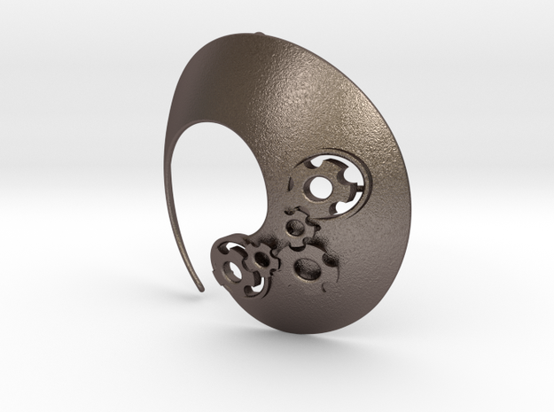 Enso No.1 Pendant (large) in Polished Bronzed Silver Steel