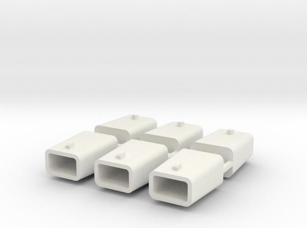 set4793 Stahlkokille 2 Zapfen quer mit Boden 6erSe in White Natural Versatile Plastic