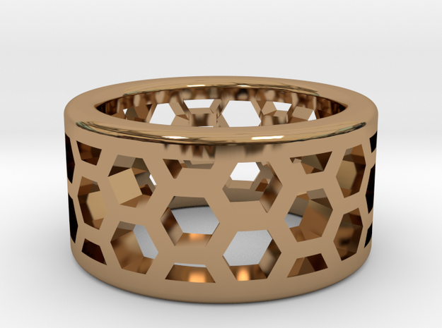 Straight Edge Honeycomb Ring Sizes 10 - 13 in Polished Brass: 10 / 61.5