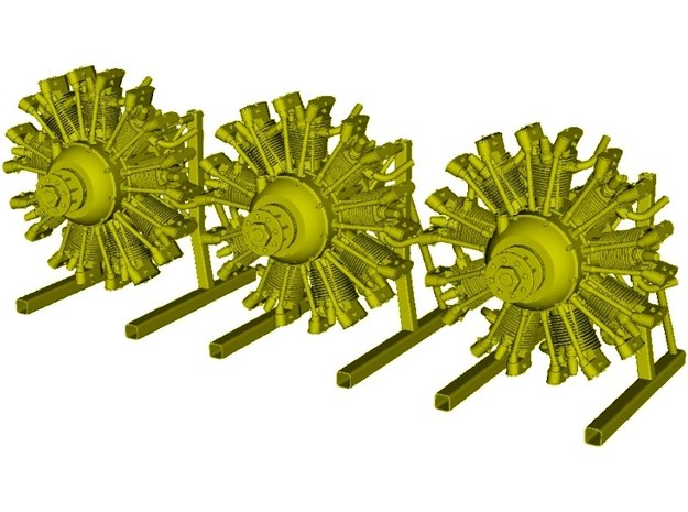 1/10 scale Wright J-5 Whirlwind R-790 engines x 3 in Smooth Fine Detail Plastic