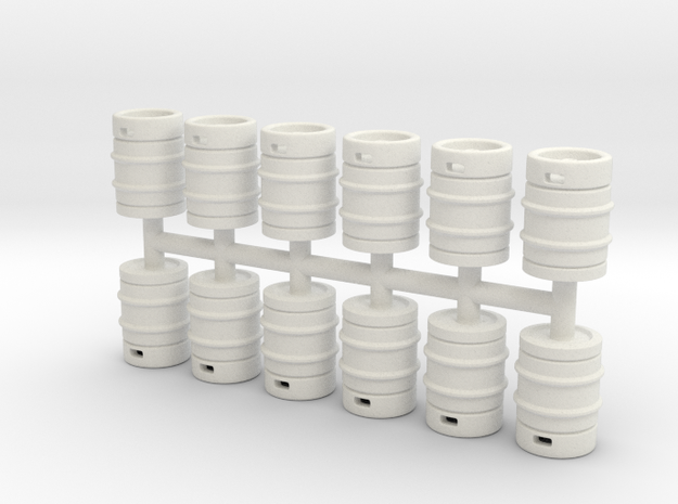 Beer Barrel. 1:64 Scale  in White Strong & Flexible