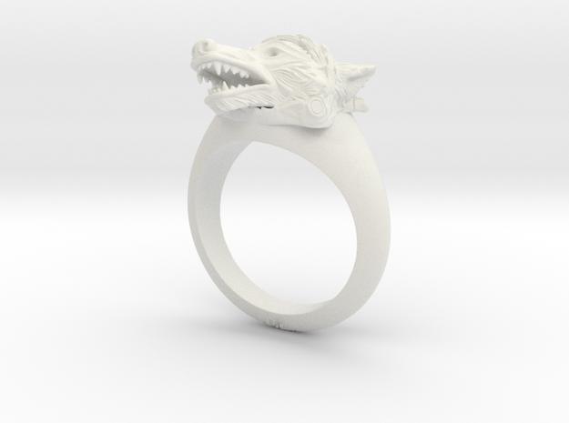 wolf Ring in White Natural Versatile Plastic: Medium