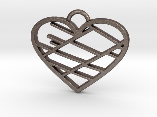 Street Map Heart Pendant in Stainless Steel