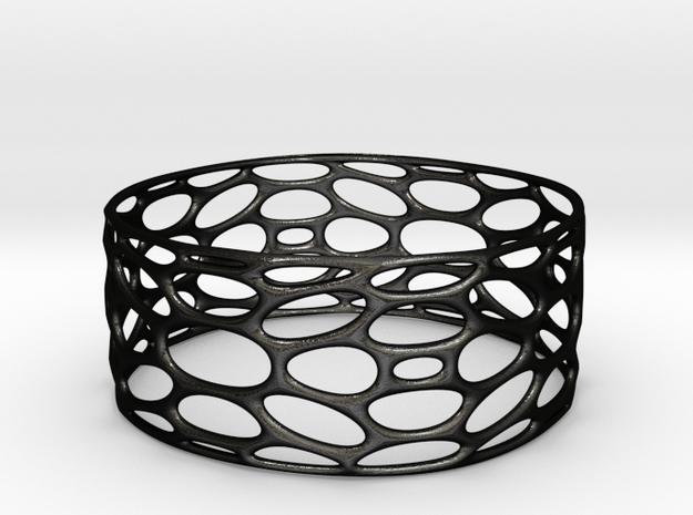 BRACELET_TIS_bracelet_CUBE_03c in Matte Black Steel: Small