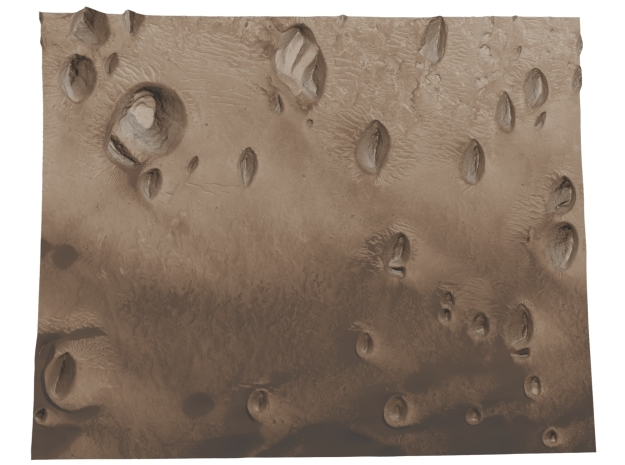 Mars Map: Small Buttes and Dunes in Sepia in Full Color Sandstone