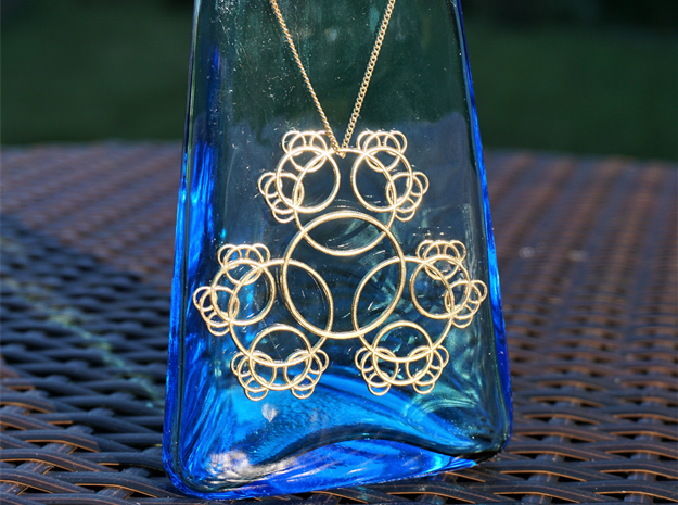 Fractal Blossom Pendant in Raw Brass