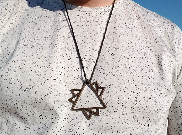 Overlapping Triangles Pendant in Polished Bronze Steel