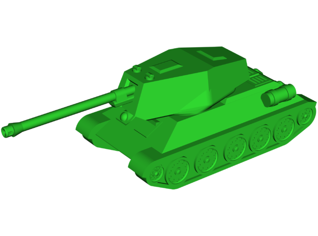 T-34-100 Tank Destroyer in White Natural Versatile Plastic: Small
