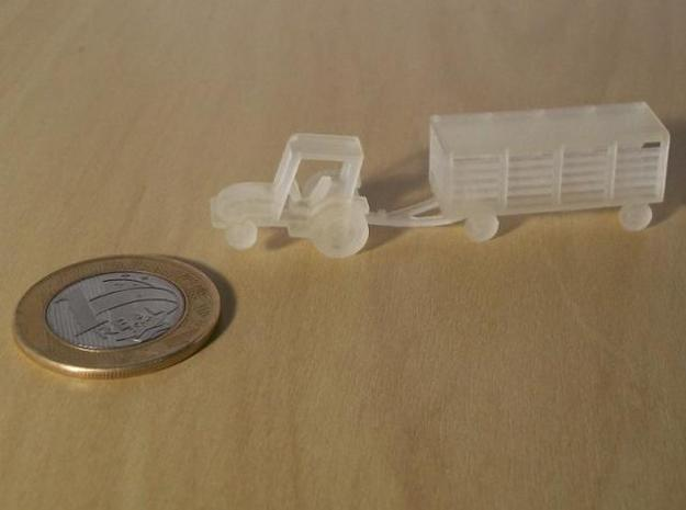 007A 1/144 Tractor & Trailer  in White Strong & Flexible
