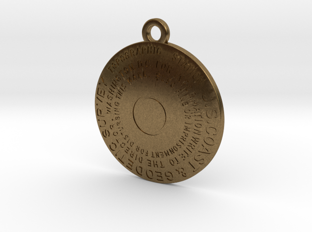 Topographic Station Keychain in Raw Bronze