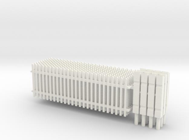 S1-414  Lattenzaun 1m hoch und Säulen in White Processed Versatile Plastic
