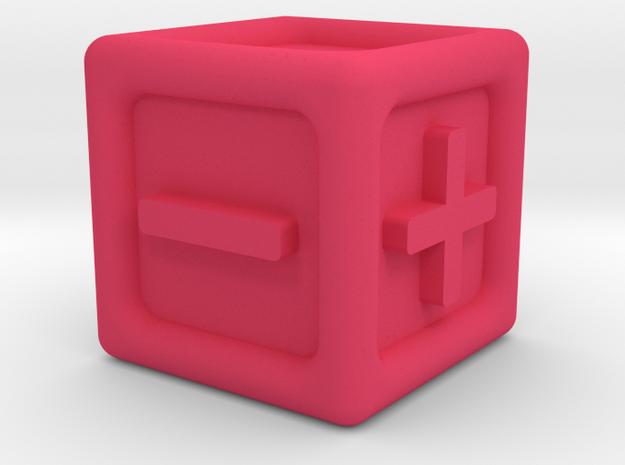 Six-sided Tactile FATE / FUDGE Die in Pink Processed Versatile Plastic
