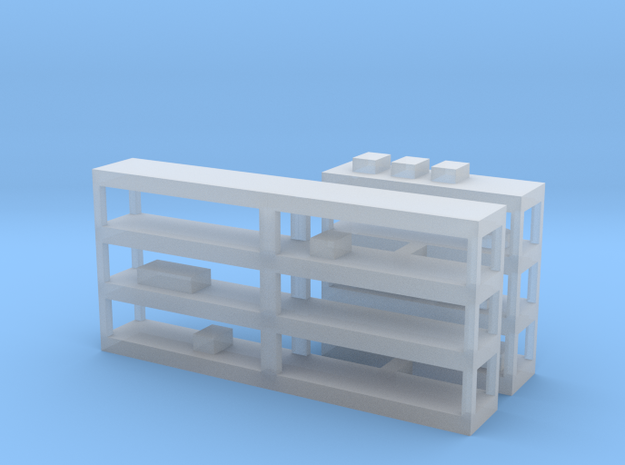 Shelving With Clutter in Smooth Fine Detail Plastic