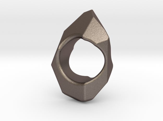 Stone Ring  in Polished Bronzed Silver Steel