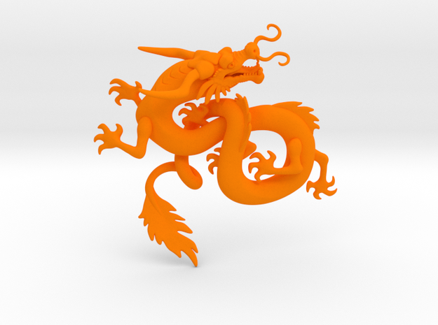 Dragon_Chinese_100mm in Orange Strong & Flexible Polished