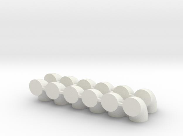 "'N Scale' - (12) - 30"" Diameter Elbows  in White Natural Versatile Plastic"