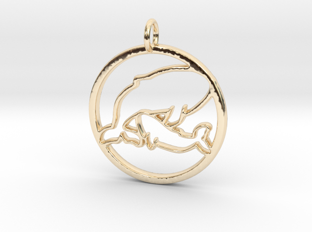 Nursing Baby Whale with Mama; pendant in 14k Gold Plated