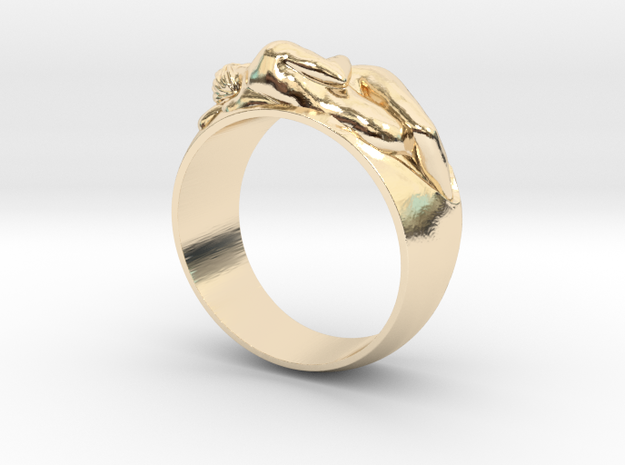 Ring Hugging Nude Couple in 14k Gold Plated: 6 / 51.5
