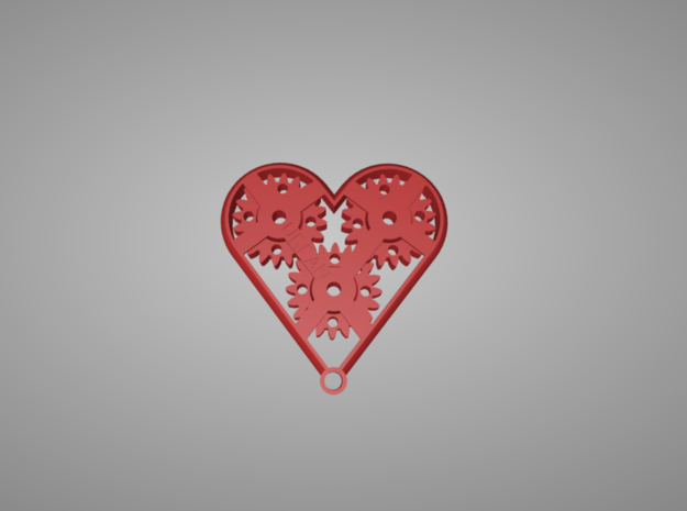 Geared Heart in Red Strong & Flexible Polished